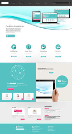 Modern Clean One page website design template. Vector