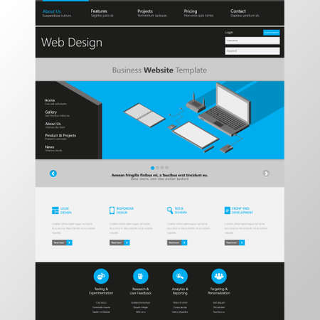 web: Flat Website Template with low polygon isometric laptop, tablet and office things illustration.