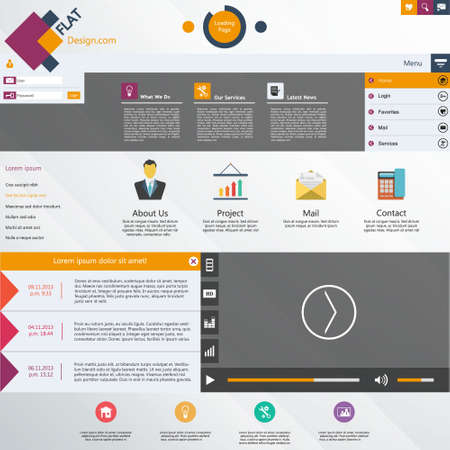 Flat website design template with video player Vector