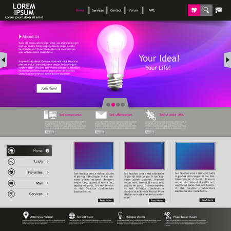 Purple business website template  イラスト・ベクター素材