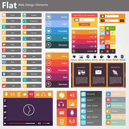 フラットな Web デザイン、要素、ボタン、アイコン。ウェブサイト用のテンプレート。