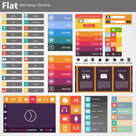 Flat Web Design, elementen, knoppen, pictogrammen. Templates voor website.