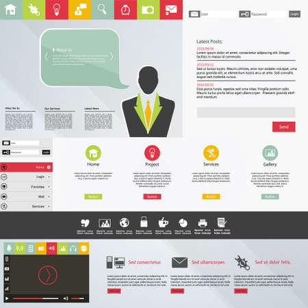 website template: Flat Design web elements  Website template Illustration