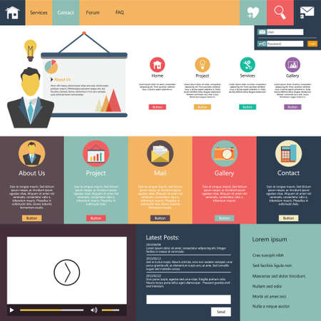website: Flat Design web elements  Website template Illustration
