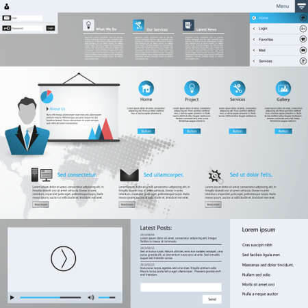 submenu: Template for website, eps10 vector with video player
