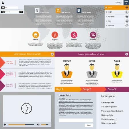 Professional Flat Web Design elements. Templates for website. Illustration