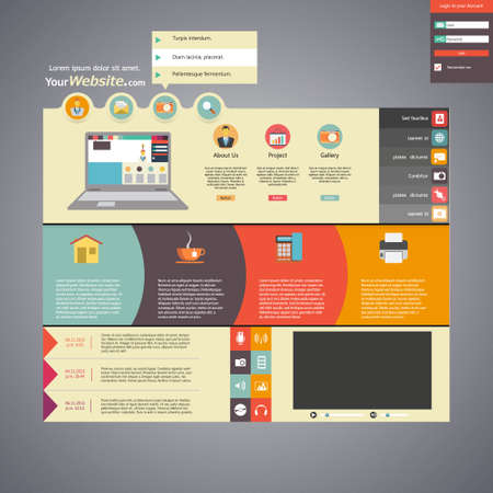 Flat style website template Vector