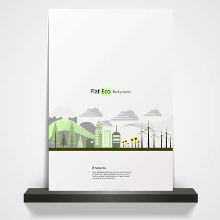 imaginary line: Abstract Eco theme flyer template or corporate banner design