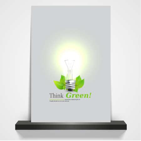 saver bulb: revista imprimible verde ecol�gico o cubierta aviador, ilustraci�n 3d bombilla