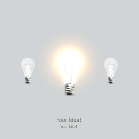 turned: glowing and turned off electric light bulb, vector illustration. Illustration