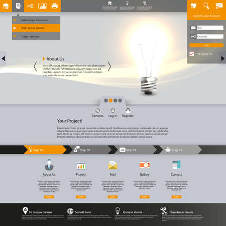 slideshow: Website template with lighting bulb illustration.