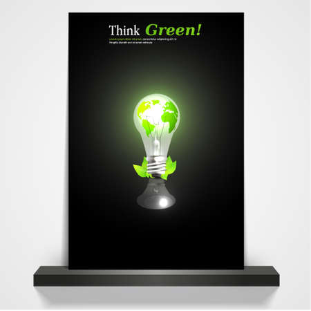 bombillo ahorrador: revista imprimible verde ecol�gico o cubierta aviador, ilustraci�n 3d bombilla