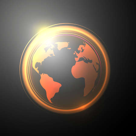 Lighting abstract circles, with earth map Vector
