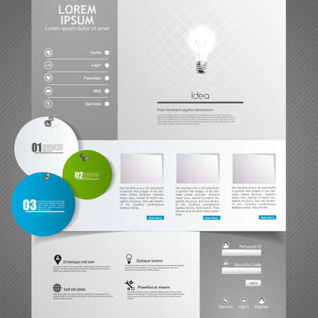 Clean Modern Website template in editable vector format, with origami bird illustration,