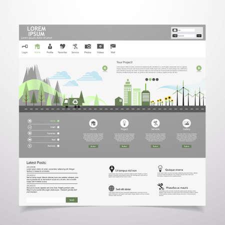 land slide: Flat eco city on Flat Website Template Design Illustration