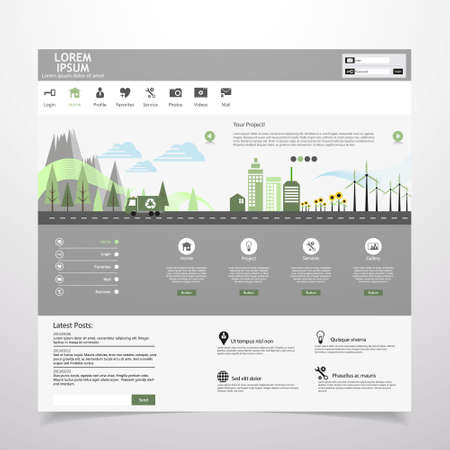 Flat eco city on Flat Website Template Design Illustration