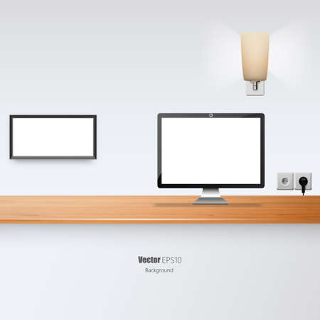 desk lamp: Office Desk Vector Illustration. Blank Flat screen and Picture Border.