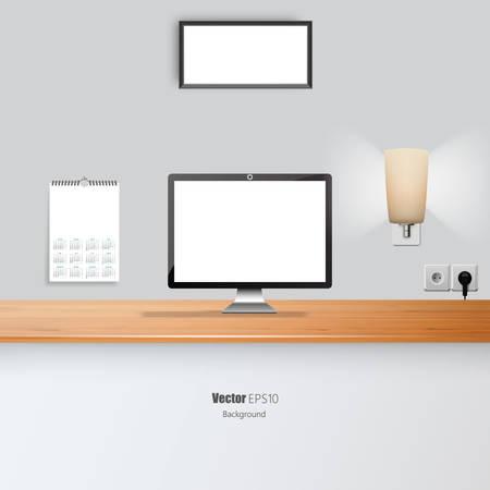 businesslike: Office Desk Vector Illustration. Blank Flat screen and Picture Border.