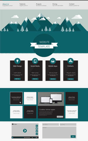 wordpress: One page website design template. with flat style landscape