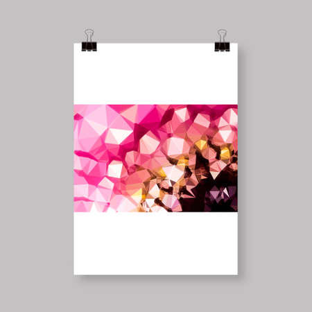 Low polygon close up Flower, Brochure Cover or Flyer Design Çizim