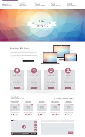 One page website template with colorful low polygon background. Vector