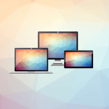 Device Set with colorful low polygon backgrounds, Vector