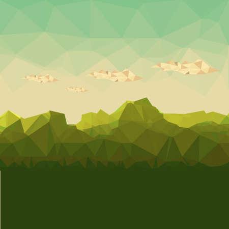山岳地帯、多角形の背景ベクトル イラスト。