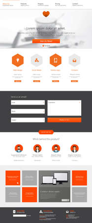 page layout: One page website design template. All in one set for website design that includes one page website template