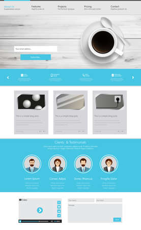 One page website design template. All in one set for website design that includes one page website templates and uxui kit for website design. Vector