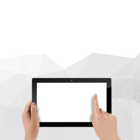 Blank Digital Tablet And Hands Vector Photorealistic Illustration. Vector