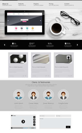 newsletter template: One Page Website Template and Business Still Life.