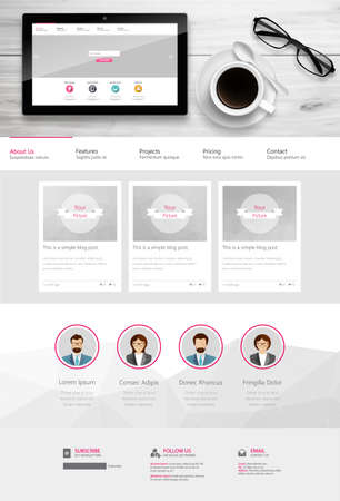One Page Website Template and Business Still Life.