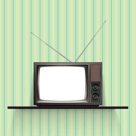 Tv retro en blanco con el papel pintado de la vendimia. Ilustración vectorial realista.