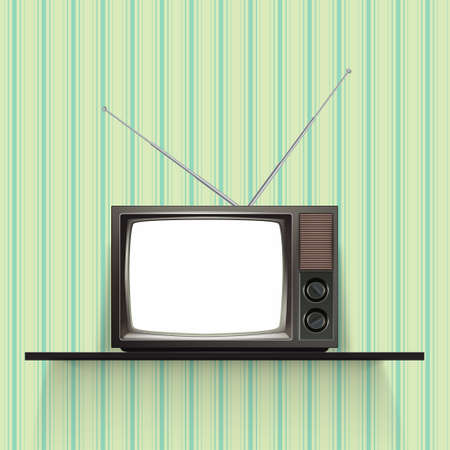 television antigua: Tv retro en blanco con el papel pintado de la vendimia. Ilustración vectorial realista.