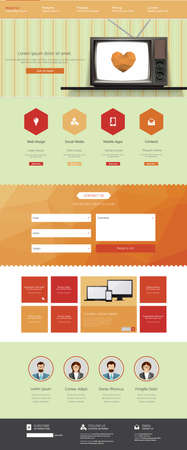 Vintage website template- one page, with blank retro television. Vector