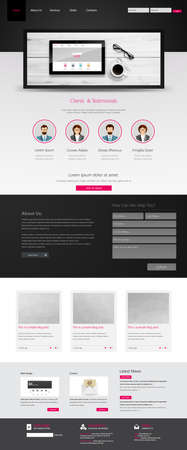 Business Website Template, with blank tablet.  Vector