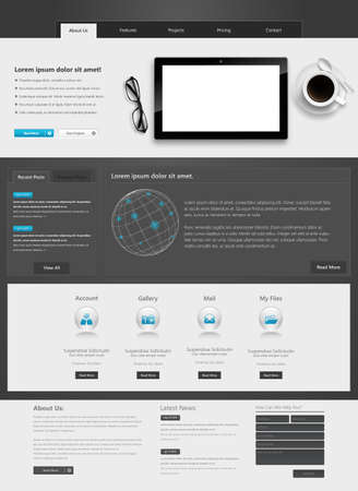 submenu: Modern Website template in editable vector format Illustration