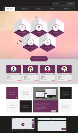 One Page Modern Website template in editable vector format Vector