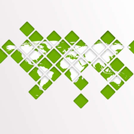 south east asia: Abstract computer graphic World map of green mosaic.