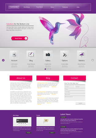 website buttons: Professional Website Template for Your Business. Illustration