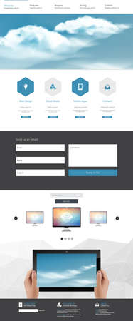 One Page Website Template and Header Designs with clouds on sky Vector