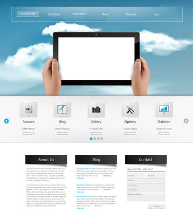 Website Template and Header Designs with clouds on sky and tablet. Vector
