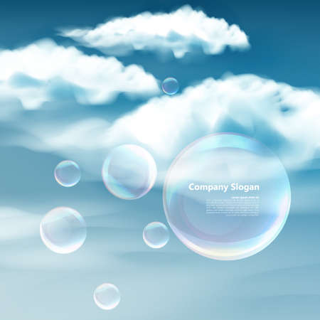 zero gravity: These soap bubbles floats calmly against a clear deep blue sky and clouds representing natural \