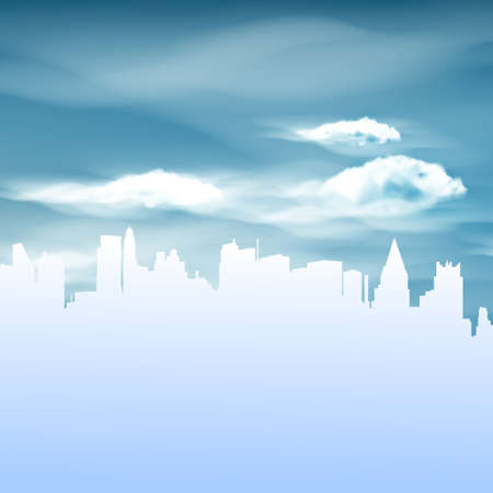 tranquil scene on urban scene: Illustration of City and Blue Sky background Illustration