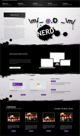 One Page Website Template with nerd symbol Vector