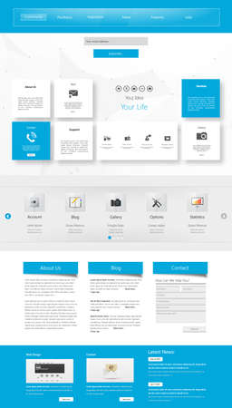 One page website design template. All in one set for website design that includes one page website templates. Illustration
