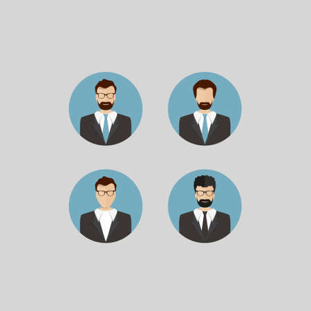 trendy male: Avatar of Male Faces Circle Icons Set in Trendy Flat Style Illustration