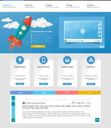 internet button: vector one page website design template in flat design