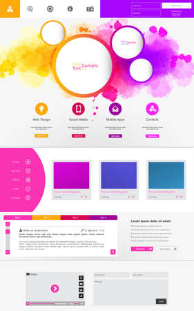 Abstract Creative concept vector one page website template isolated on background. Includes illustration interface, flat UI kit for web and UX mobile design, business infographic and social multimedia Vector