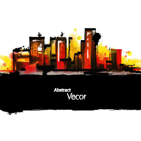 city background: Abstract painted city background.  Illustration